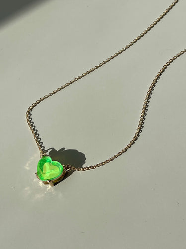 Maggie Icon Heart Charm Necklace In Lime