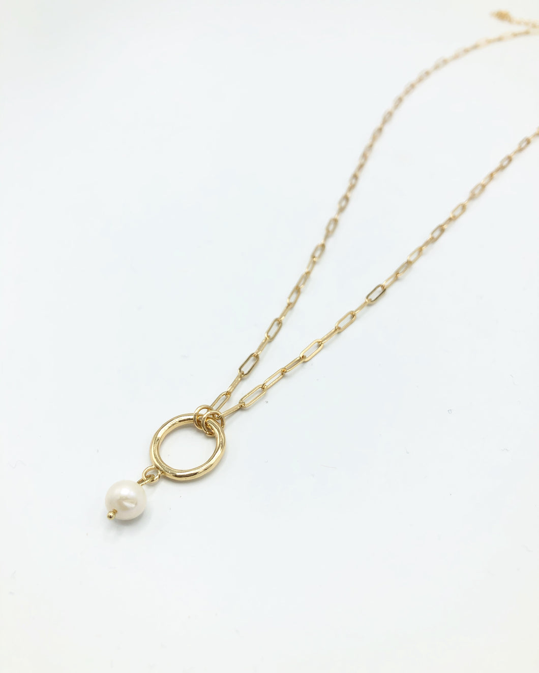 Freshwater Pearl Hoop Drop Necklace In Gold