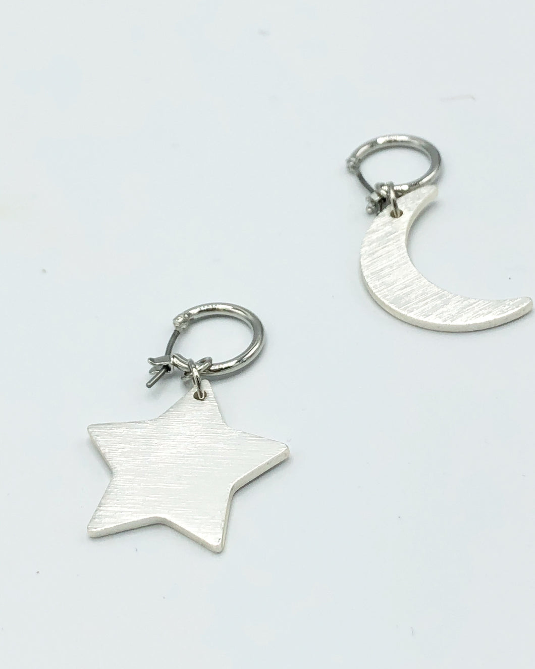 Star & Moon Jumbo Charm Earrings In Matte Silver
