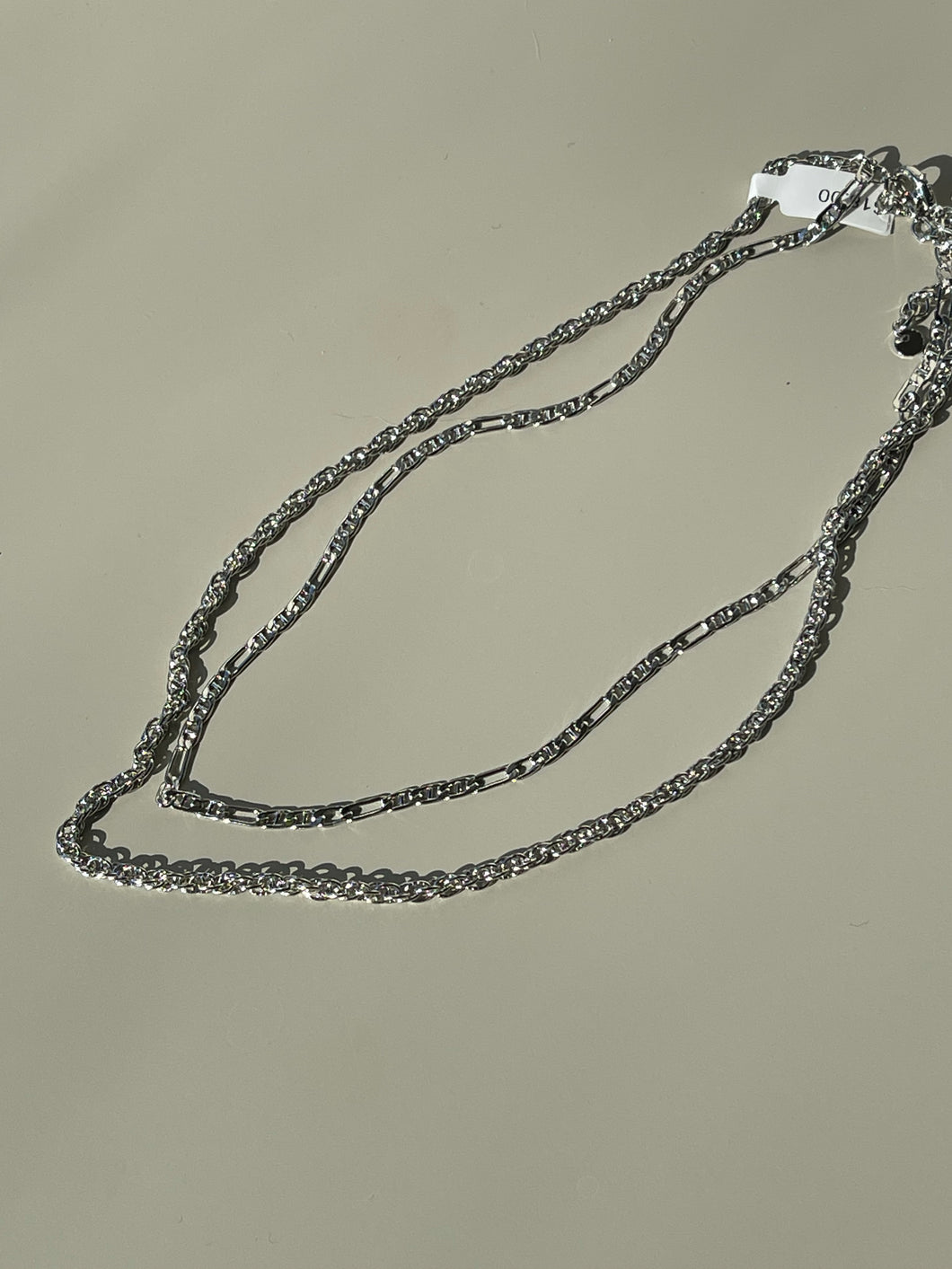 Layered Crum Chain Necklace In Silver