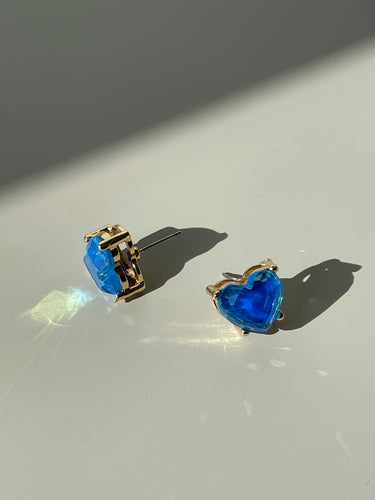 Maggie Icon Heart Stud Earring In Deep Blue