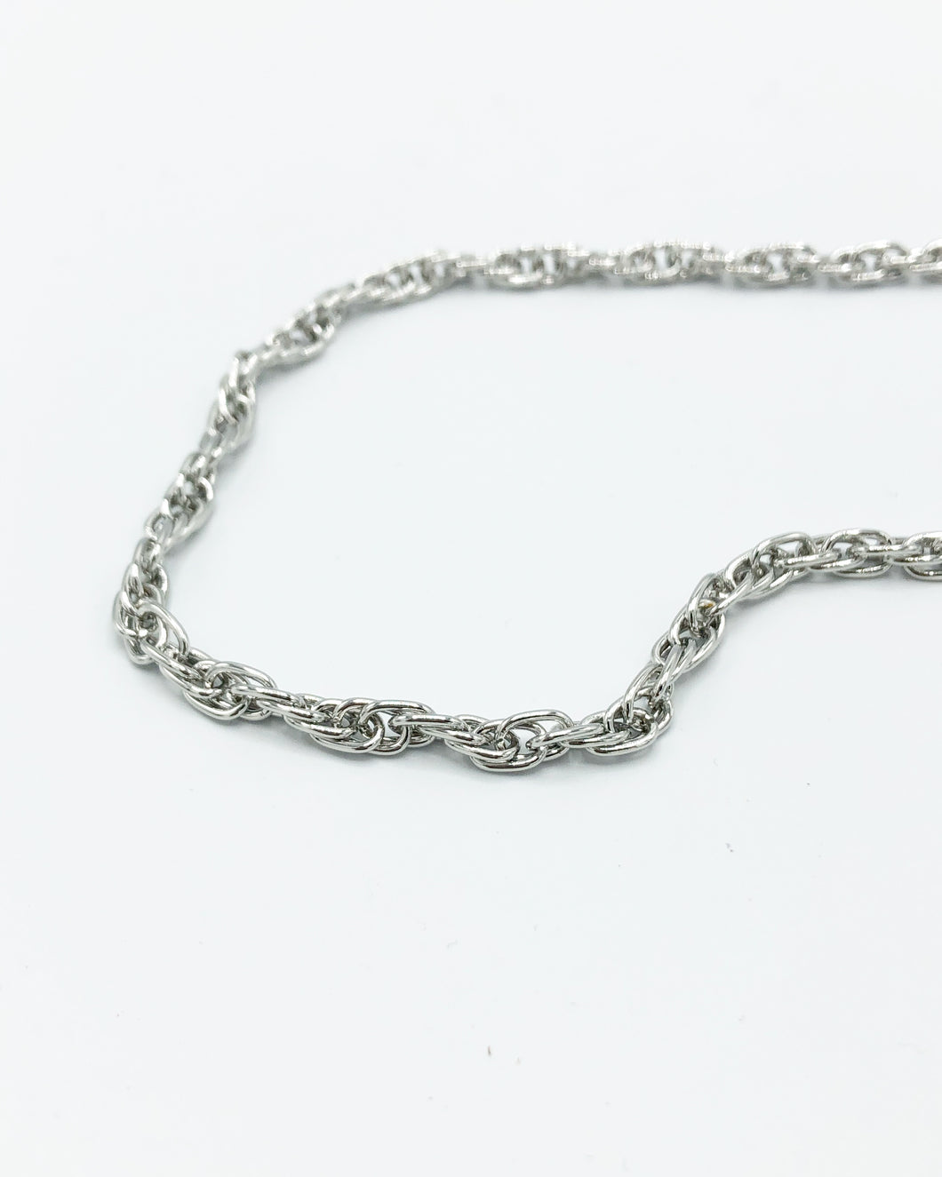Mini Triple Tri Link Chunky Chain Necklace In Silver