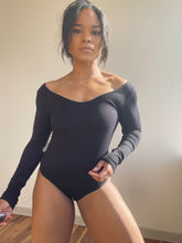 Load image into Gallery viewer, Calli Ribbed Long Sleeve Bodysuit In Black