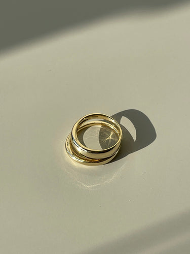 Dylan Double Link Ring In Gold