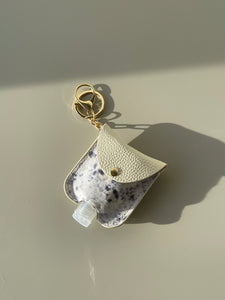 Cowhide Hand Sanitizer Holder In Ash & Taupe