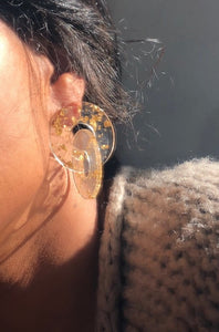 Double Gold Flake Drop Earring