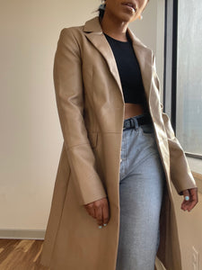 Notch Collar Vegan Leather Coat In Camel