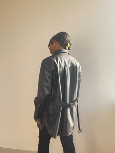 Adam Classic Belted Vegan Leather Jacket In Black