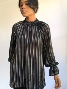 Julia Mock Neck Stripe Sheer Tunic