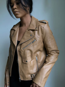 Jessie Classic Moto Jacket In Taupe