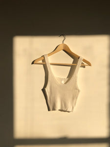 Little Cream Cropped Tank Top