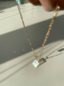 Layered Rainbow Translucent Link Necklace In Gold