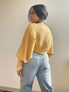 Corey Balloon Sleeve Cropped Sweater In Mustard