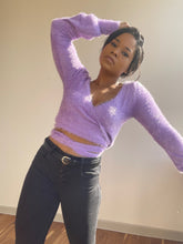 Load image into Gallery viewer, Rena Fuzzy Wrap Sweater In Lavender