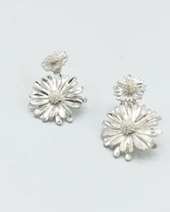 Double Sided Sunflower Drop Earrings In Matte Silver