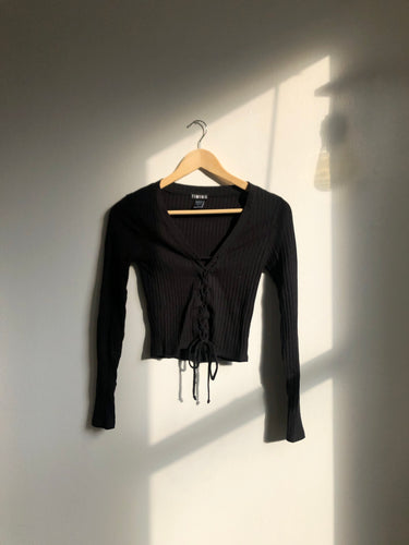 Kyle Front Corset Long Sleeve Top In Black