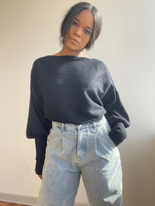 Corey Balloon Sleeve Cropped Sweater In Black