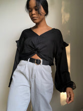 Load image into Gallery viewer, Annie Ruffed Balloon Sleeve Crop Top In Black