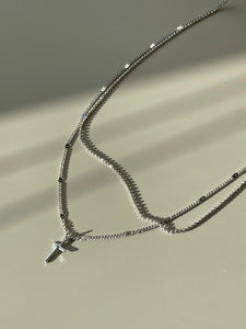 Layered Cross Necklace In Silver