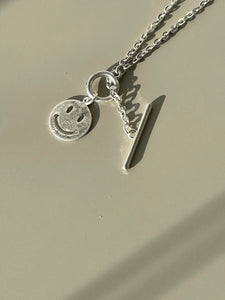 90s Classic Smiley Face Chain Necklace In Matte Silver