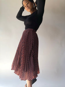 Tracy Pleated And Plaid Midi Skirt