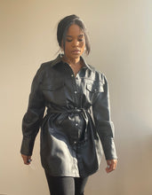 Load image into Gallery viewer, Adam Classic Belted Vegan Leather Jacket In Black