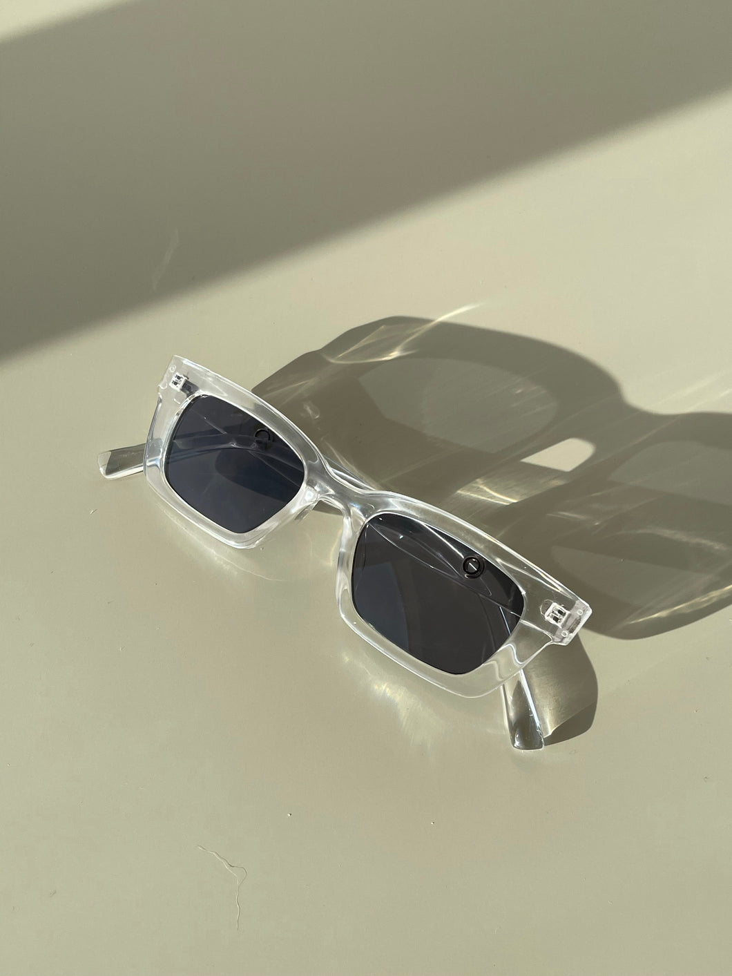Stephanie 90s Style Sunglasses In Ice Clear