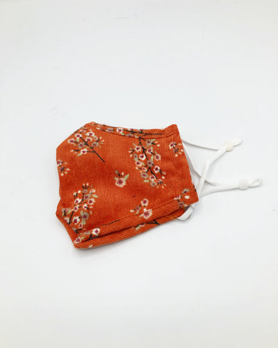 Corduroy Floral Mask In Tangerine