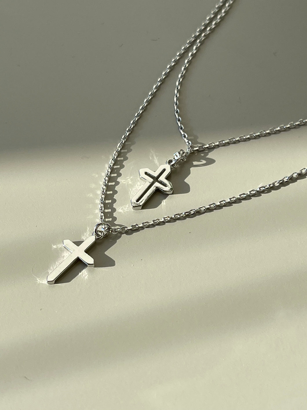 Layered Cutout Cross Necklace In Silver