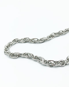 Triple Tri Link Chunky Chain Necklace In Silver