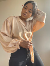Load image into Gallery viewer, Tuli Button Front Tie Shirt In Tan