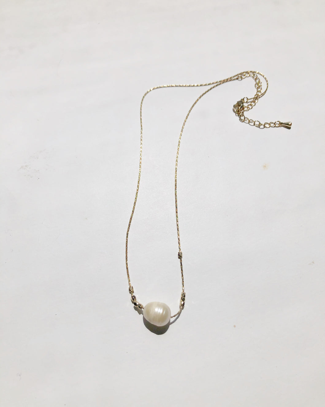 Pearl Charm Gold Nugget Mini Necklace