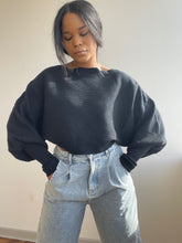 Load image into Gallery viewer, Corey Balloon Sleeve Cropped Sweater In Black