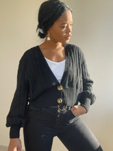 Load image into Gallery viewer, Simona Balloon Sleeve Double Button Cardigan In Black