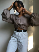 Load image into Gallery viewer, Annie Ruffled Balloon Sleeve Crop Top In Ash