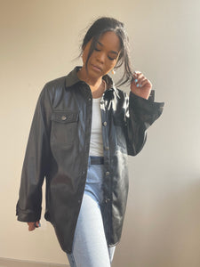 Sandra Vegan Leather Shirt Jacket