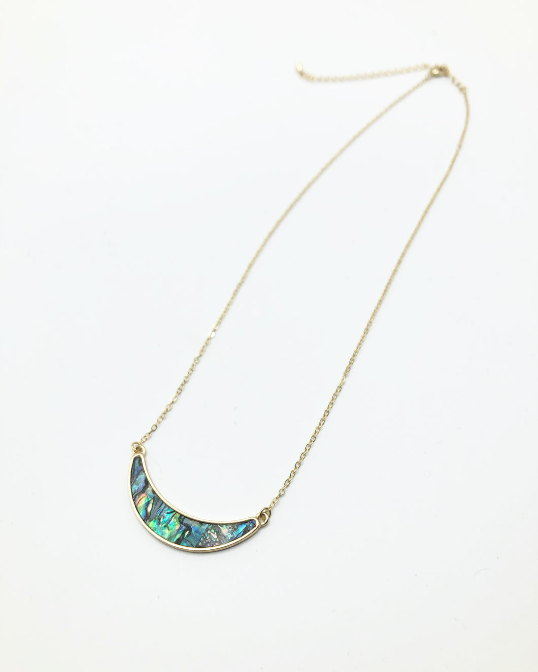 Simi Precious Crescent Stone Necklace In Gold