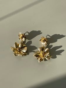 Flower Drop Earrings In Matte Gold