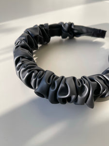 Scrunch Vegan Leather Headband In Black