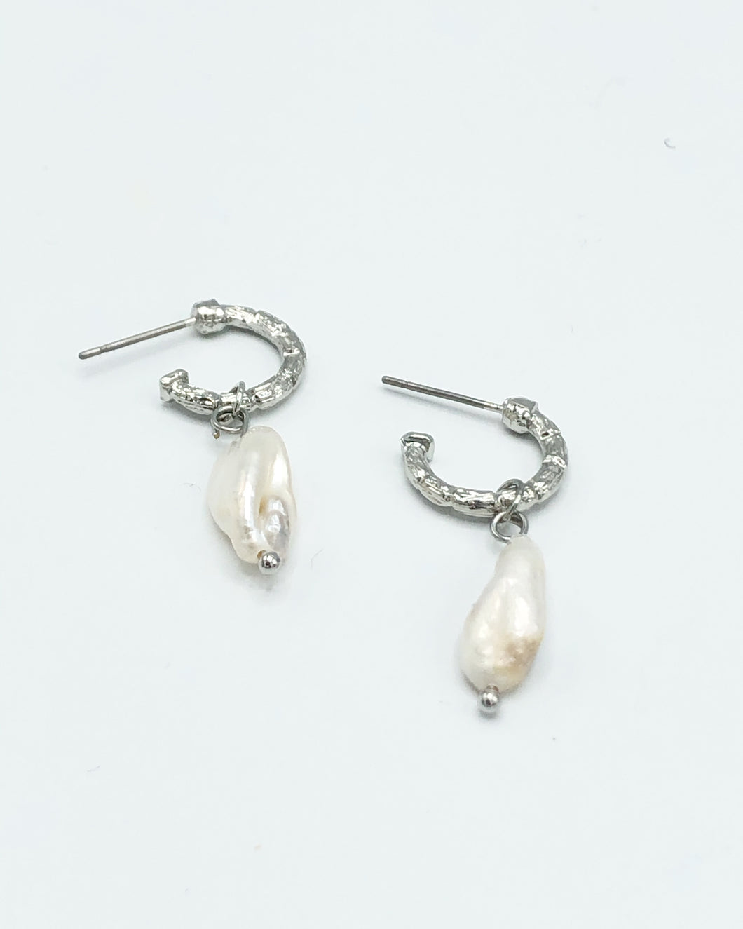 Freshwater Pearl Mini Hoop Drop Earring In Silver