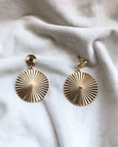 Sun Disk Drop Earring