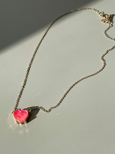 Maggie Icon Heart Charm Necklace In Pink