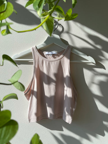 Leisy Razor Front Crop Tank In Taupe