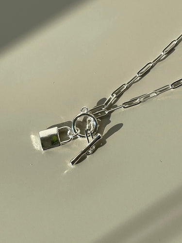 Lock Charm Necklace In Silver
