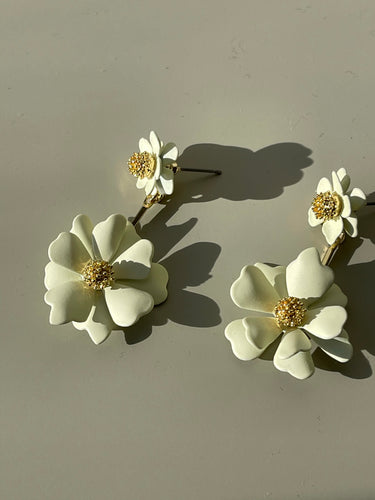 Flower Drop Earrings In Matte Ivory