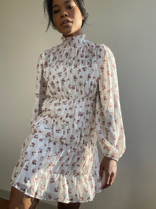 Moxie Mock Neck Floral Dress In Ivory