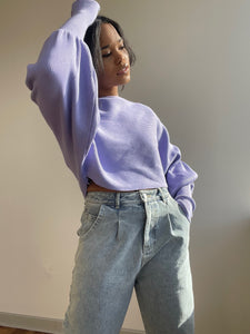 Corey Balloon Sleeve Cropped Sweater In Lavender