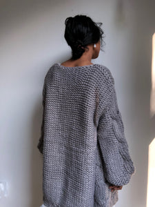 Cynthia Oversized Chunky Open Sweater In Stone Grey
