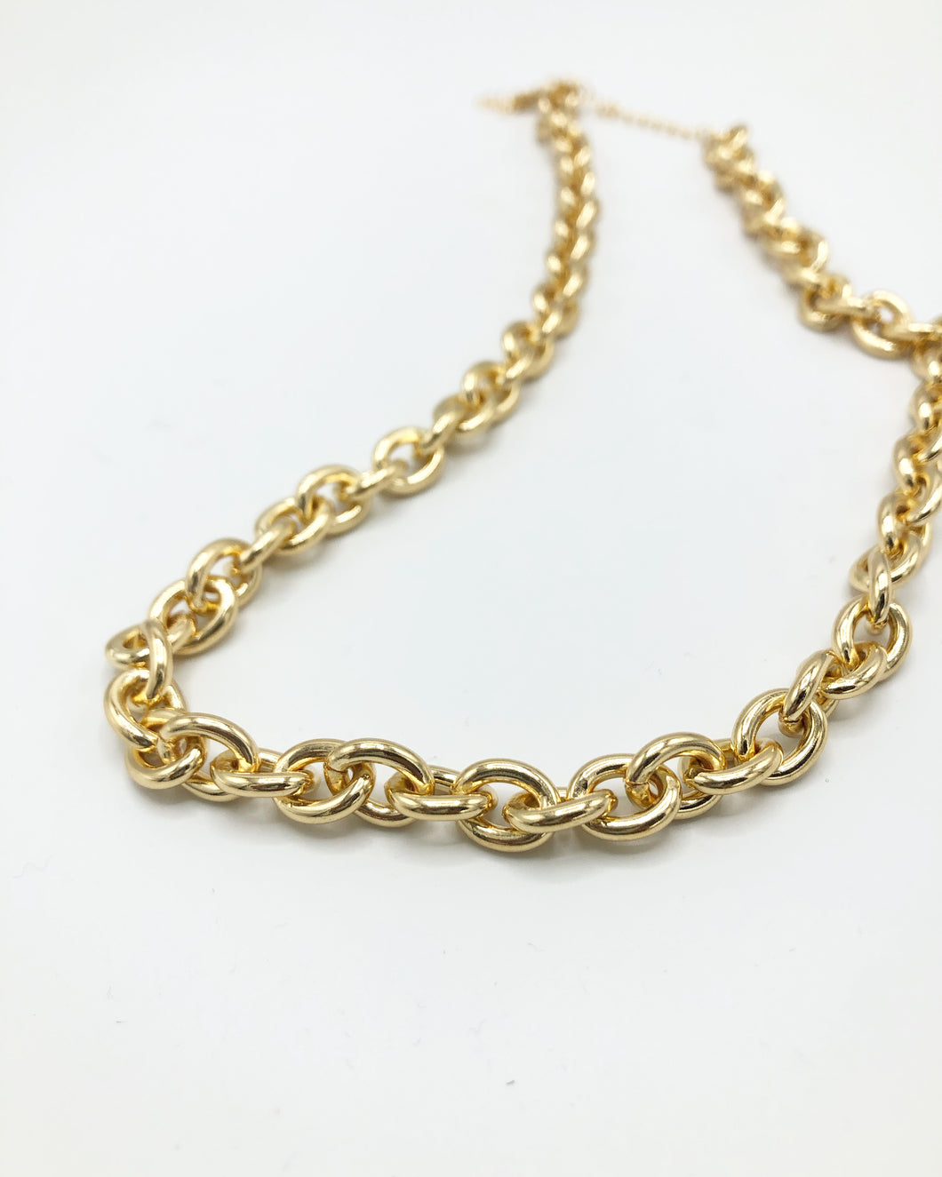 Smooth Crum Link Chain Necklace In Gold