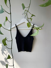 Load image into Gallery viewer, Cory Cropped Ribbed Tank Top In Black